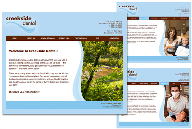 Creekside Dental: website, 2008