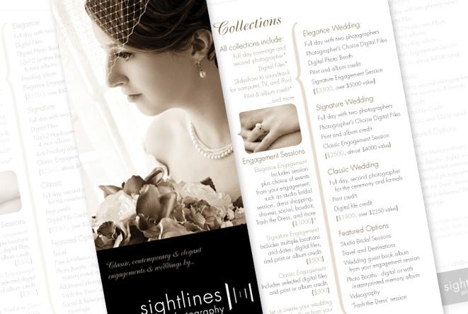 sightlines photography, wedding collection handbill